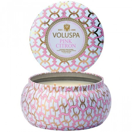 Voluspa Duftlys 2-Wick Tin Candle Pink Citron 50t