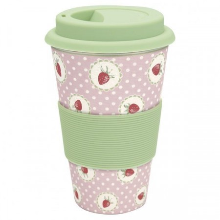 Greengate Travel Mug Strawberry P.pink