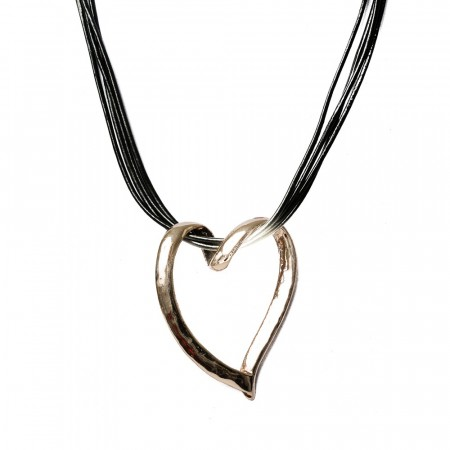 Rosenvinge Necklace Short Leather String Black W. Heart