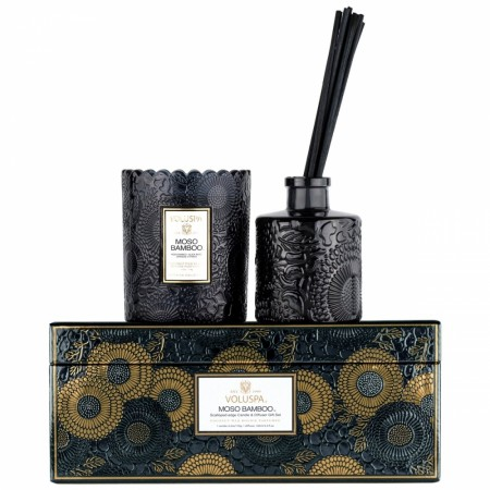 Voluspa Giftset Scalloped Candle & Diffuser Moso Bamboo