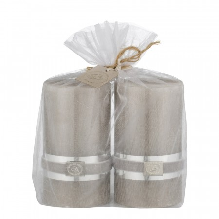 Lene Bjerre Candle Rustic 2pack Medium Silver Grey